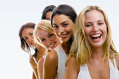 group of beautiful women with gorgeous teeth
