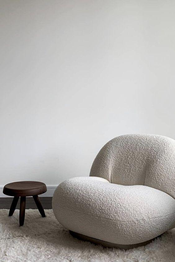 Fauteuil tendance en laine bouclée