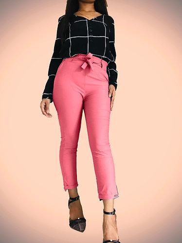 pink casual high waist knot pants.