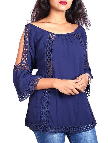 blue slit sleeves boho top.