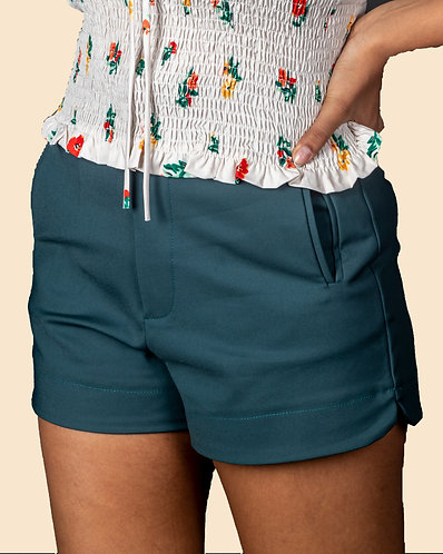 Teal green hot shorts for your summer days.