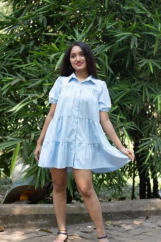 blue solid half sleeves flared dress.