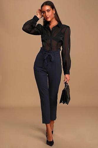 navy blue semi-formal high waist pants.