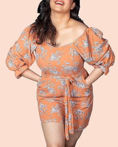 astonished light orange shoulder knot flare dress.