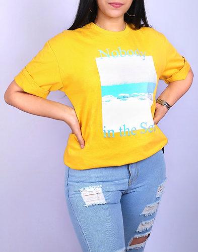 Sea printed yellow Tshirt.