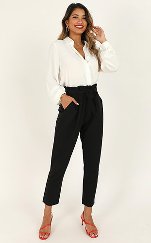 Black semi-formal high waist lycra knot pants