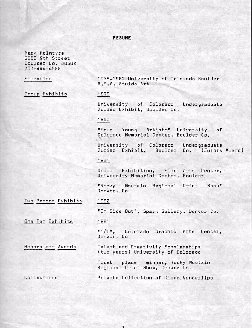 Mark Arts Resume 1983