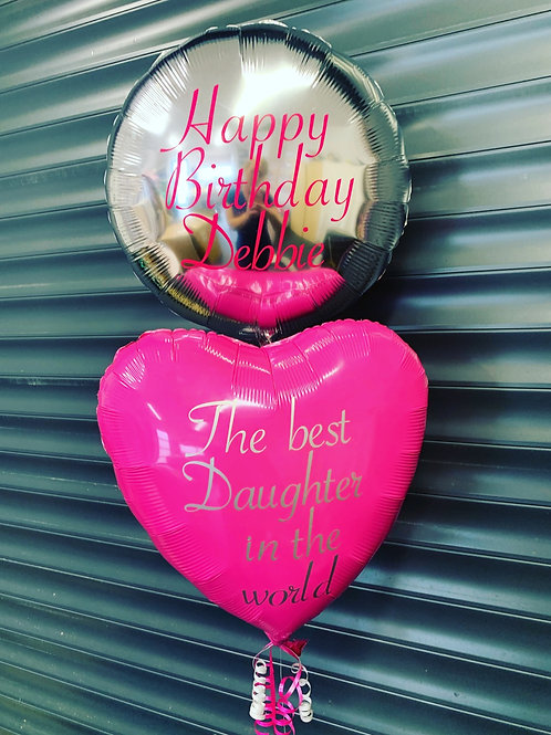 Personalised foil balloons inflated