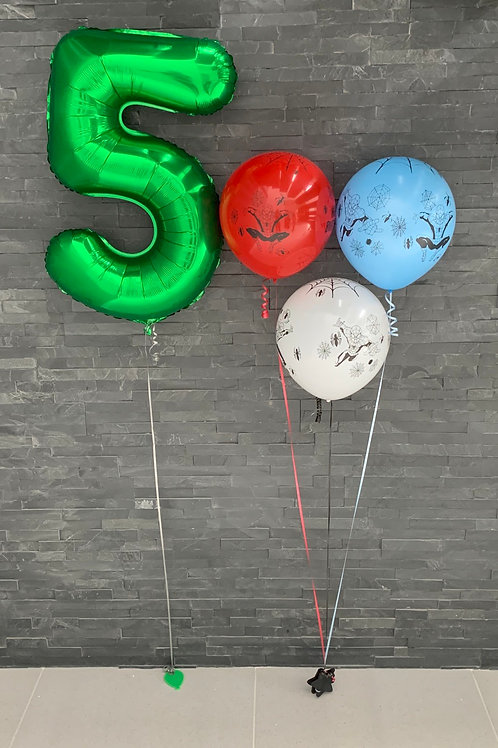 """32"""" Green Numbers and Spider-Man Balloons"""