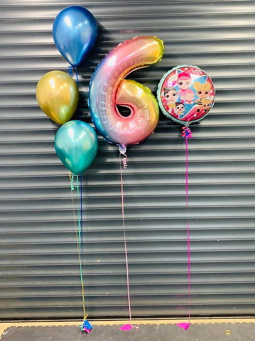 Foil numbers with latex bouquets and foil round balloons displays