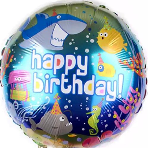 Happy Birthday Shark And Fish Balloon