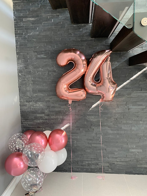"""Rose Gold 18"""" Foil Numbers & latex inflated"""