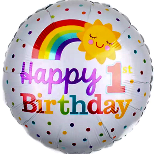 Happy 1st Birthday Rainbow Balloon