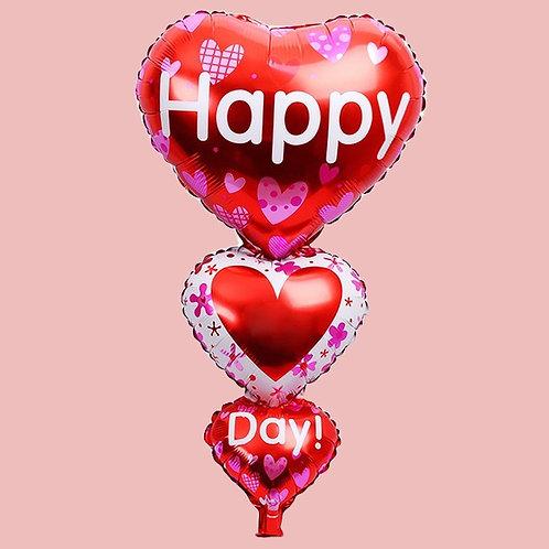 Valentines Red Love Heart three Tier Balloon