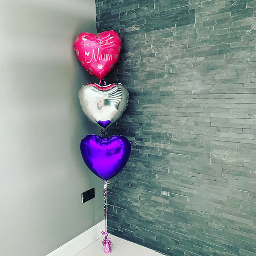 "18"" Happy Birthday Mum hearts bouquet"