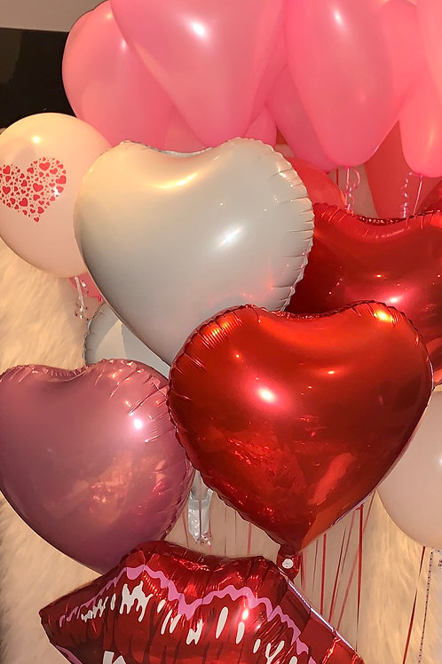 Inflated foil hearts