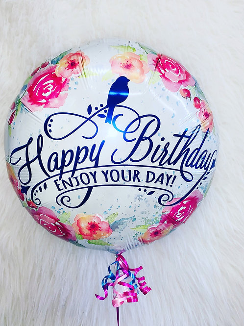Happy Birthday Enjoy Your Day inflated Balloon in a gift box