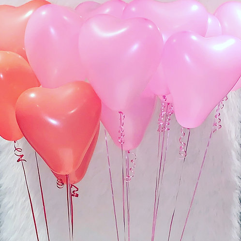 Inflated latex hearts