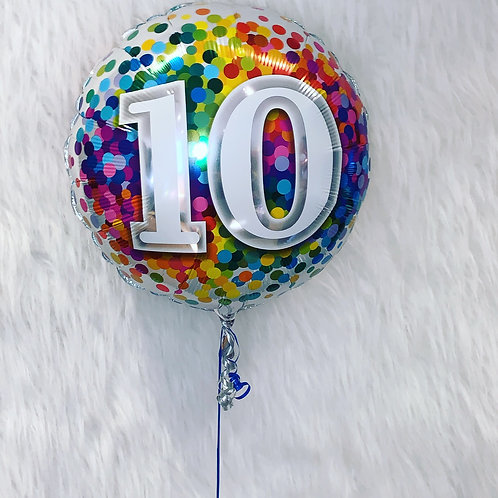 10th Birthday confetti inflated in a gift box
