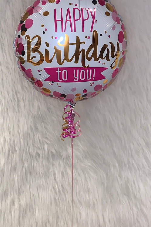 Happy Birthday to you pink balloon inflated in a gift box