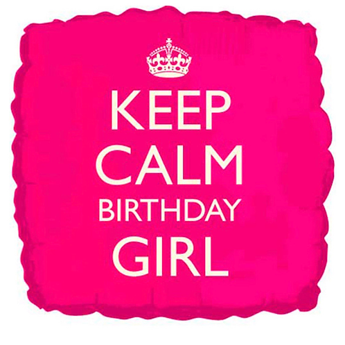 """Keep Calm Birthday Girl inflated 18"""" Balloon in a gift box"""