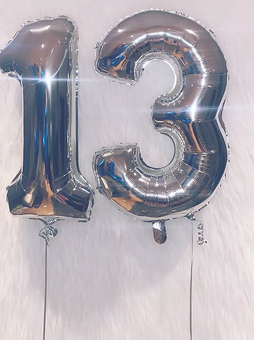 """32"""" Foil Silver Numbers"""