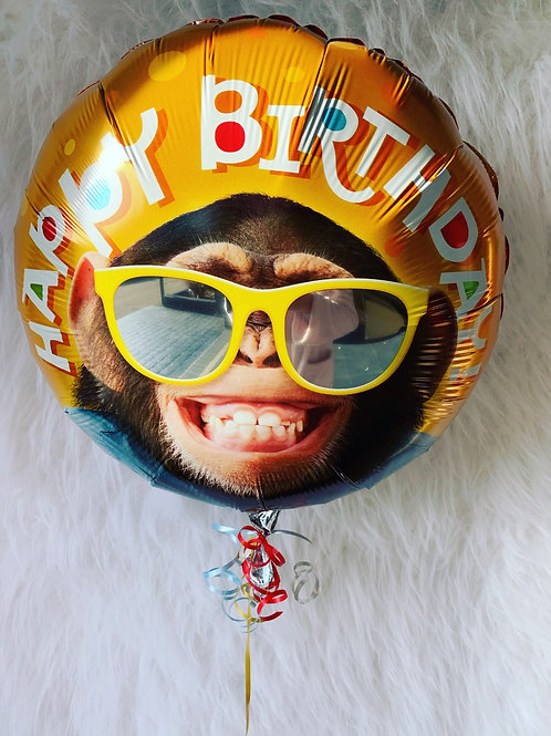 "Happy Birthday chimp smile 18"" Foil Balloon inflated in a gift box"