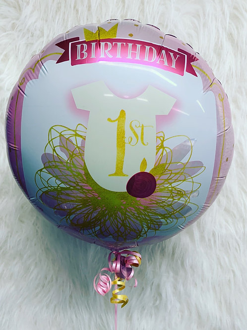 1st Birthday Tutu Balloon inflated in a gift box