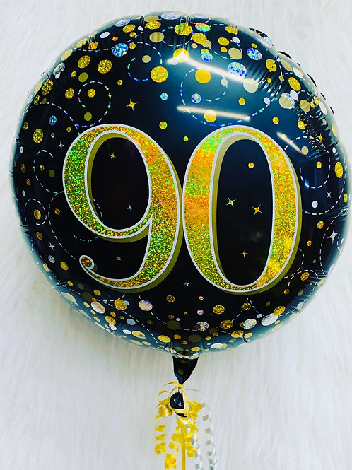 90th Foil holographic Balloon inflated in a gift box