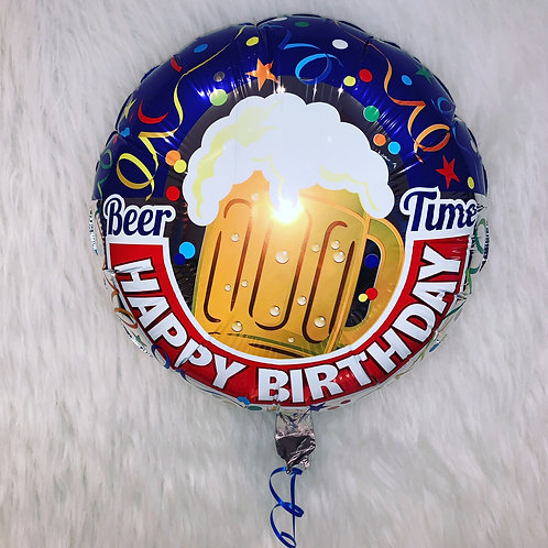 Beer Time Happy Birthday inflated balloon in a gift box