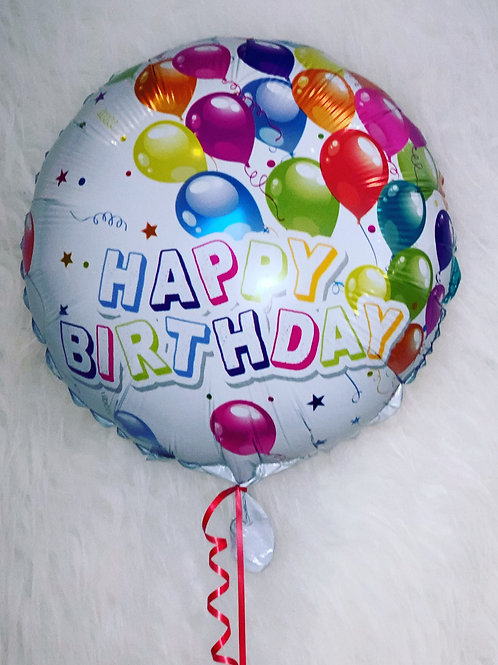 """Happy Birthday 18"""" Inflated Foil Balloon Design"""