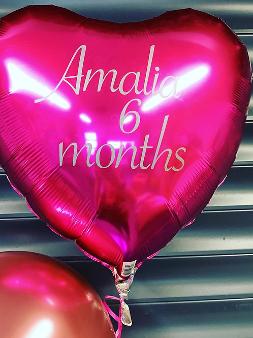 Personalised foil heart balloons