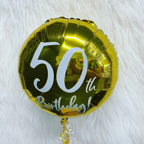 50th Holographic inflated balloon in a gift box