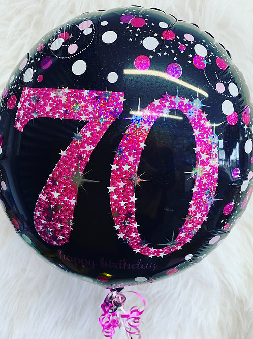 70th Birthday pink holographic foil balloon inflated in a gift box