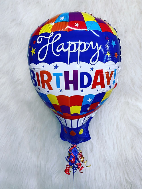 Happy Birthday foil inflated hot air balloon in a gift box