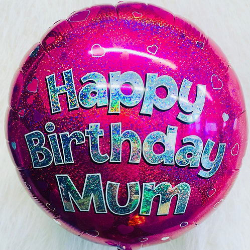 "Happy Birthday Mum 18"" inflated Heart Balloon in a gift box"