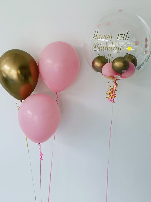 Bubble balloon and latex bouquets