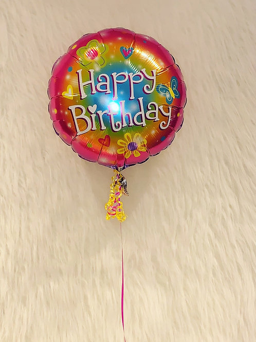 Happy Birthday flowers & Hearts Balloon in a gift box