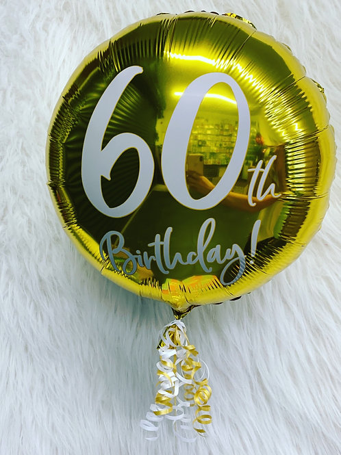 60th Holographic inflated balloon in a gift box