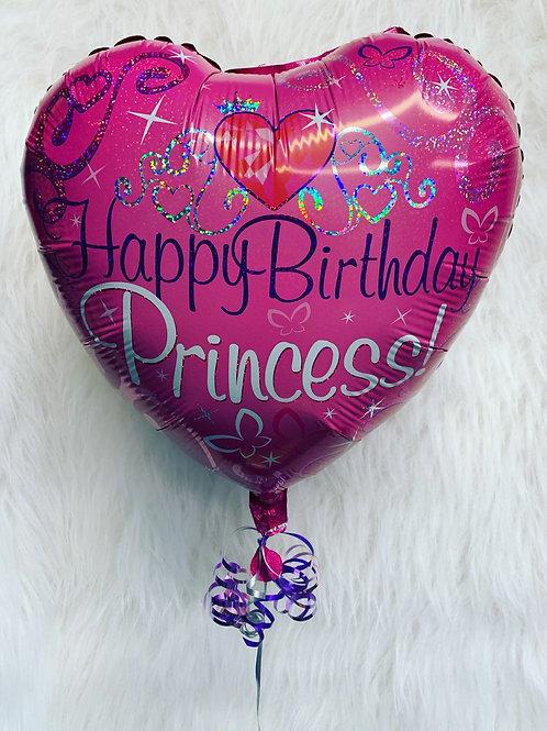 Happy Birthday Pink princess Heart Balloon in a gift box
