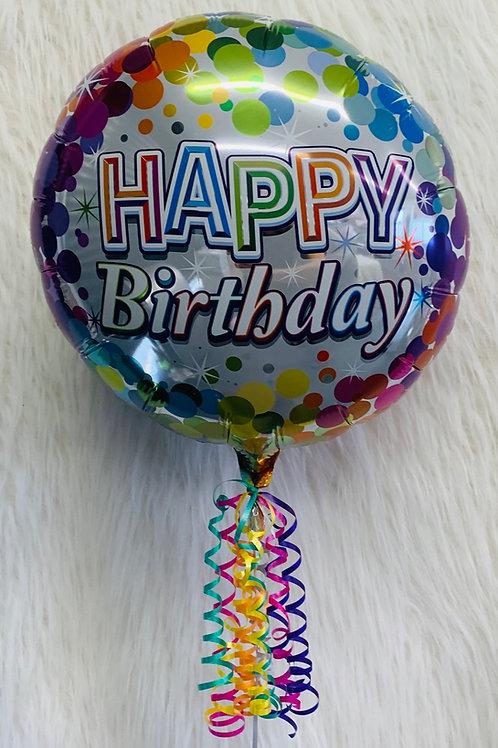 Happy Birthday silver confetti balloon