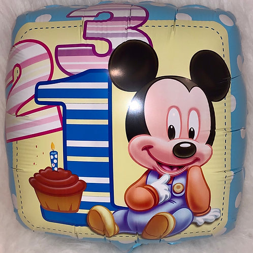 Mickey Mouse 1st Birthday Square Balloon