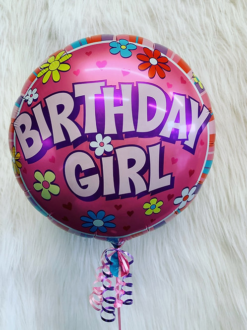 """Birthday Girl 18"""" inflated Balloon in a gift box"""