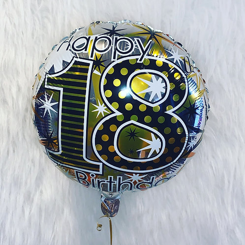 """Happy 18th silver and gold 18"""" foil inflated in a gift box"""
