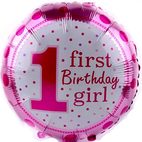 Happy First Birthday Pink Balloon