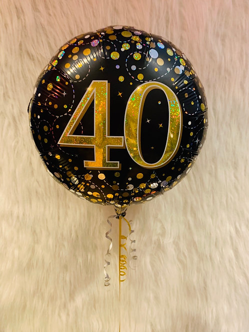 Black and Gold 40th Foil Balloon inflated in a gift box