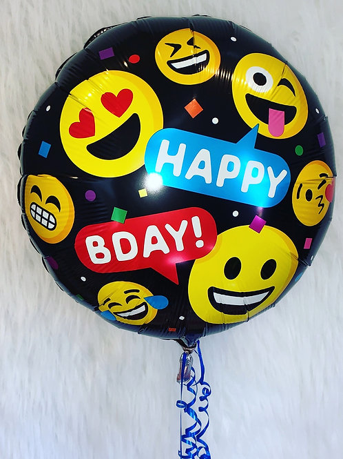 "Happy BDAY Emoji 18"" foil balloon inflated in a gift box"