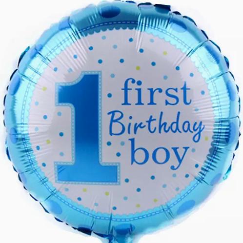 1st Birthday Foil Balloon Blue