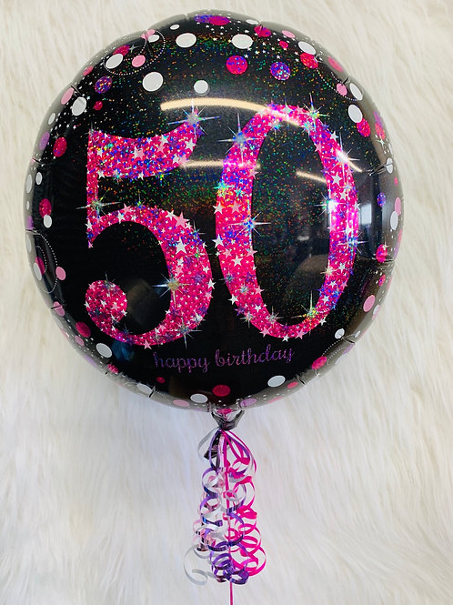 50th Birthday pink holographic foil balloon inflated in a gift box