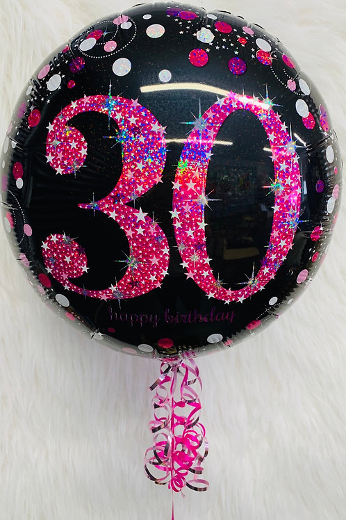 30th Birthday pink holographic foil balloon inflated in a gift box
